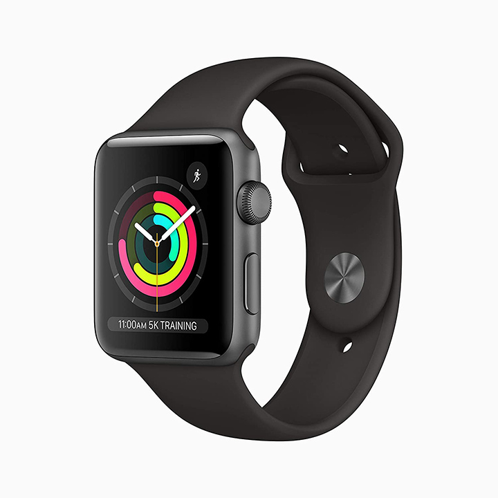 apple watch series 3 (gps 42mm) - space grey aluminium case with black sport band