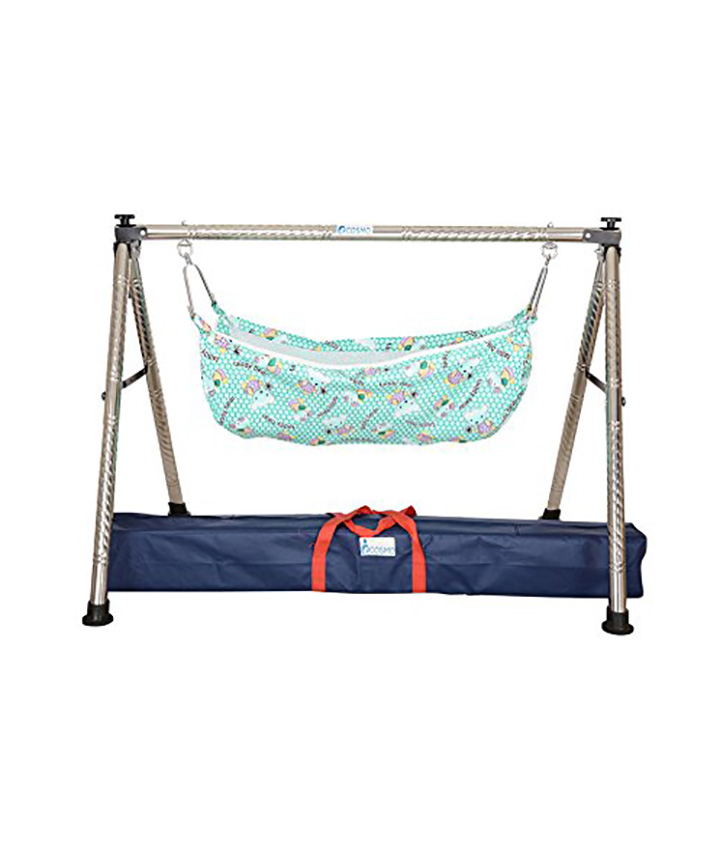 a to z hub baby boy's and girl's portable folding swing cradle silver