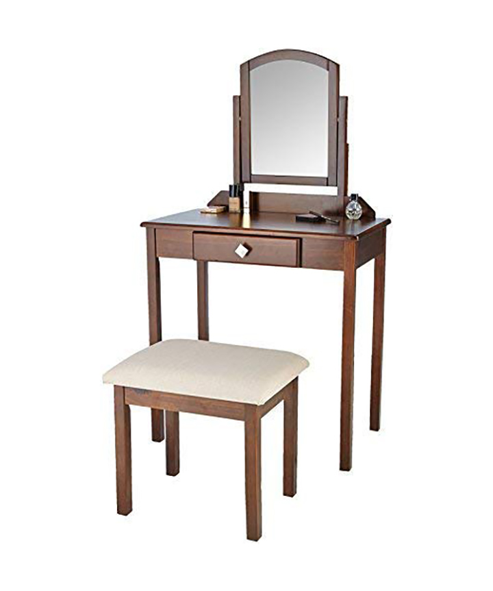 amazonbasics solid wood classic dressing table set with stool