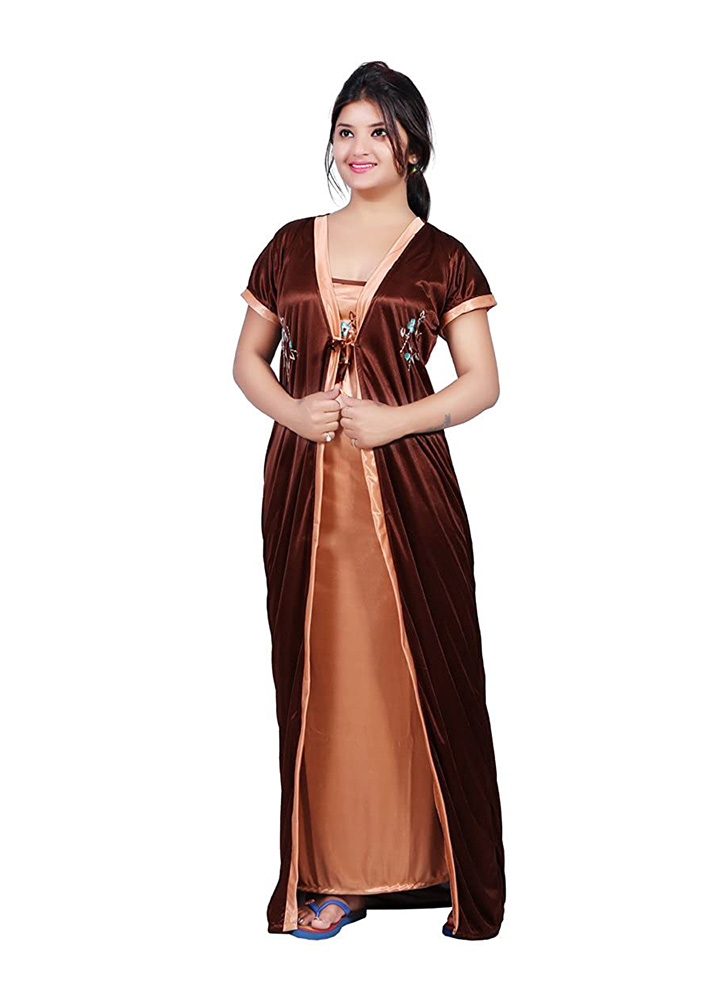 bailey sells women's satin embroidered maxi nightgown