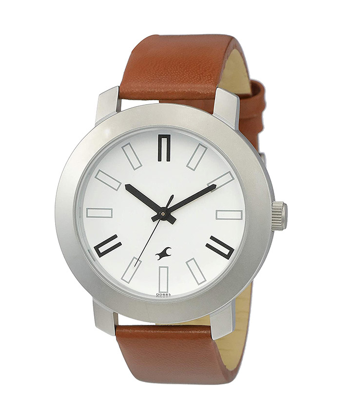 fastrack casual analog white dial watch for men