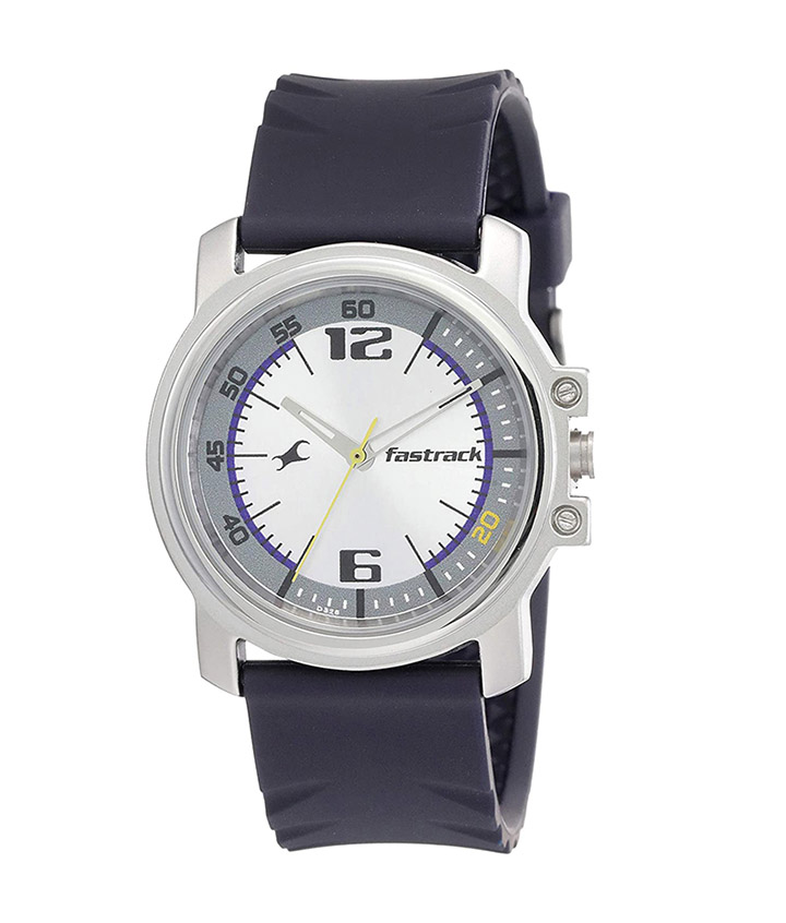 fastrack economy analog silver dial men's watch