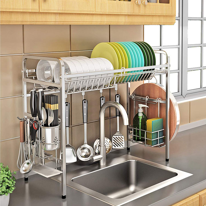 kurtzy 304 stainless steel over the sink rack for kitchen