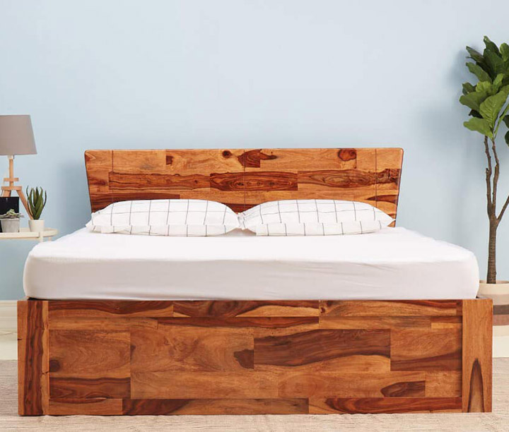 wakefit auriga sheesham bed with storage (king size bed) solid wood double bed
