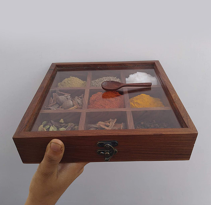 t one woods wooden spice box