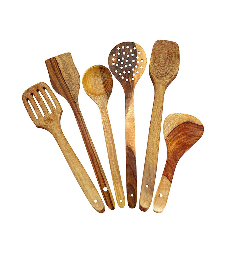 btoc multipurpose wooden serving and cooking non stick spoon set