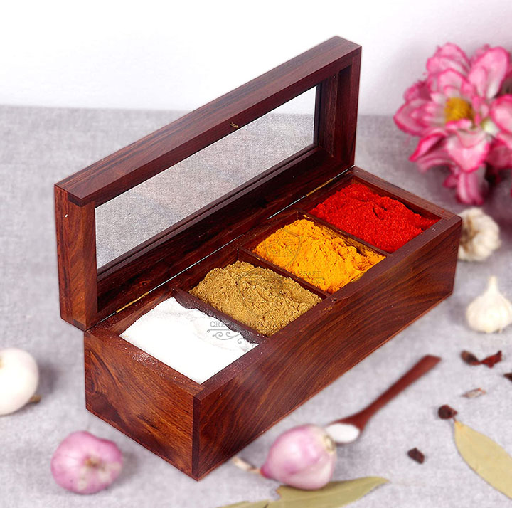 creation india craft wooden spice box