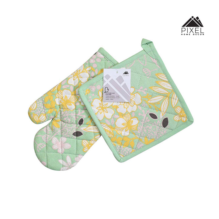 pixel home printed cotton oven gloves with pot holder