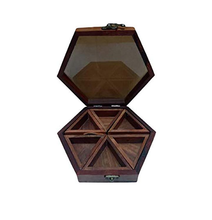 wooden deluxe carver spice box