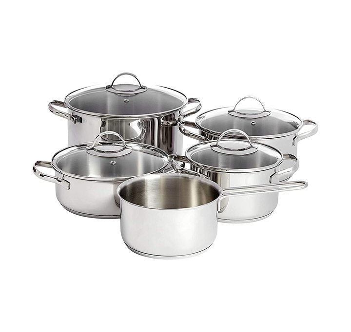 amazonbasics 9-piece stainless steel induction cookware set
