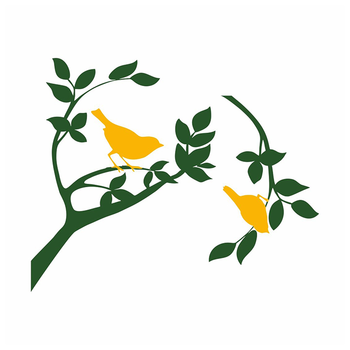 asian paints wall-ons branch with 2 birds wall sticker
