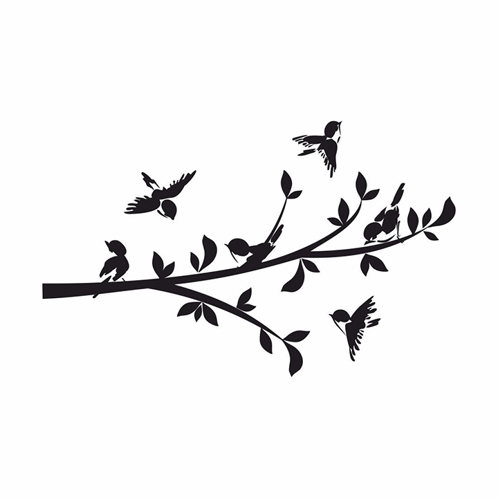 asian paints wall-ons branch with 6 birds wall sticker