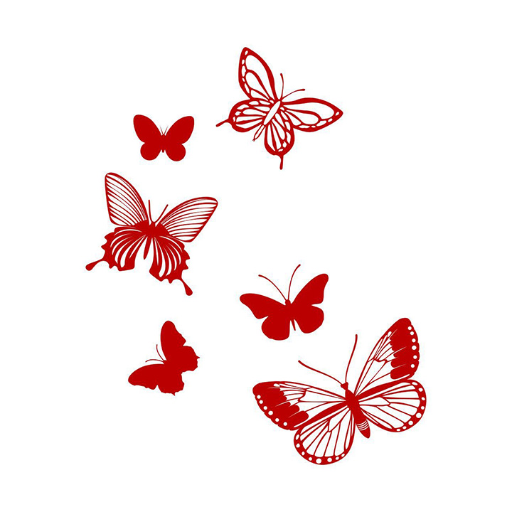 asian paints wall-ons red intricate butterflies wall sticker