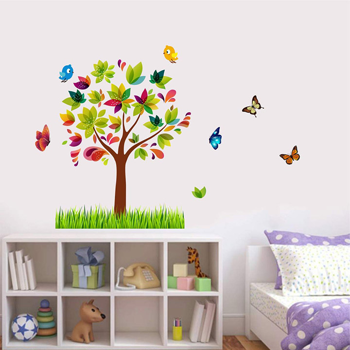decal o decal wall decals ' colorful tree with birds and butterfly ' wall stickers