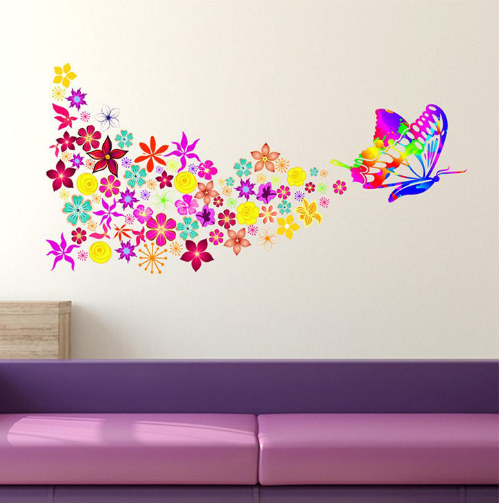 decals design 'butterfly with colorful flowers blowing' wall sticker