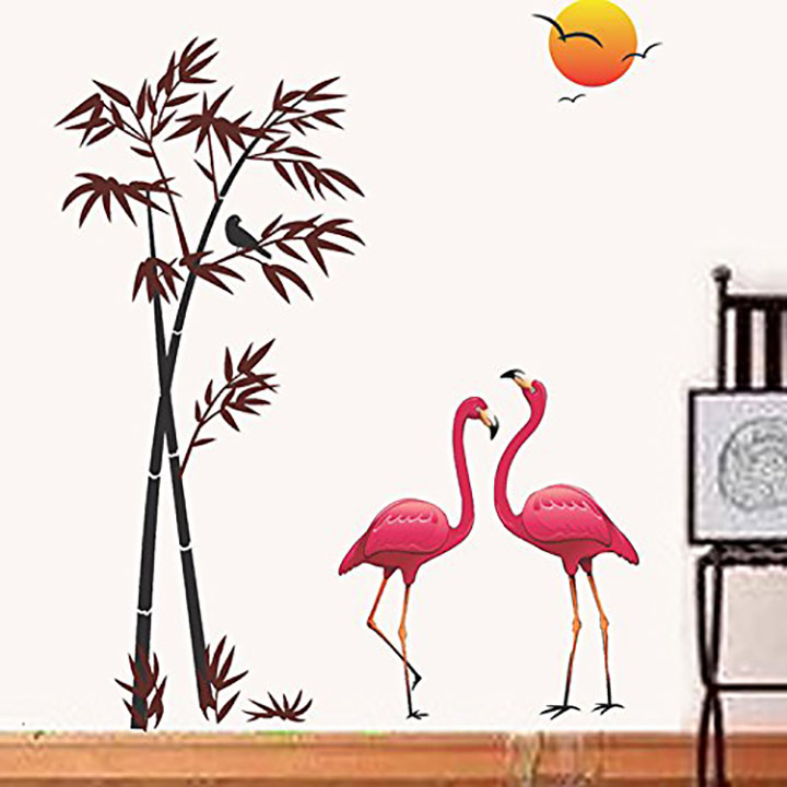 decals design 'flamingos and bamboo at sunset' wall sticker
