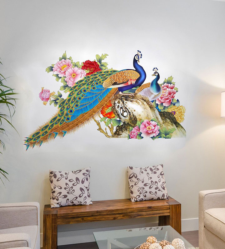 decals design wall sticker for living room peacock birds nature