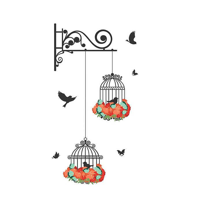 decals design wall sticker 'hanging birds cage with flowers