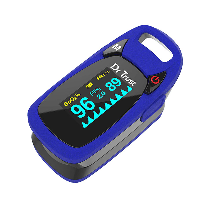 dr trust professional series finger tip pulse oximeter with audio visual alarm and respiratory rate