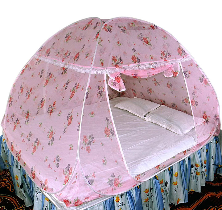 healthy sleeping foldable polyester double bed mosquito net