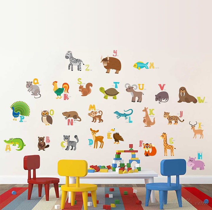 rawpockets abcd english alphabets animals name baby' wall sticker