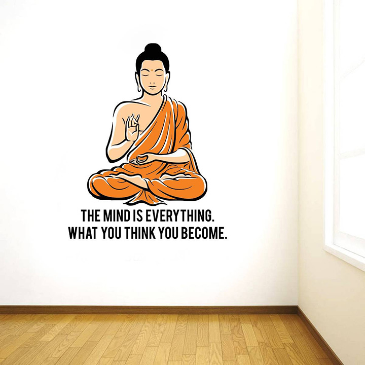 rawpockets 'peaceful buddha and quote on mind ' wall sticker