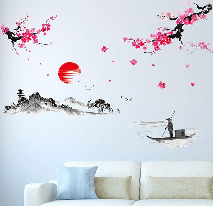 Amazon Brand - Solimo Wall Sticker for Living Room The Lake & The Mountains