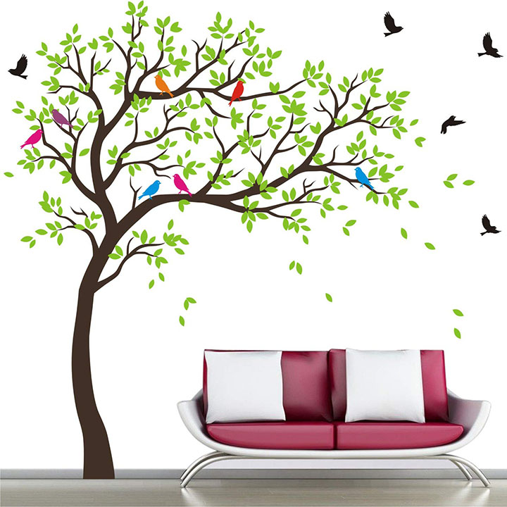 WALLSTICKS ' Extra Large - Full Wall Tree Colourful Birds Nature Wall Sticker