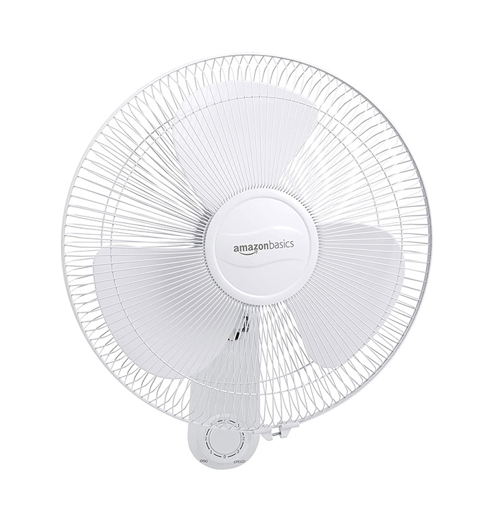 amazonbasics - high speed wall fan for cooling with automatic oscillation