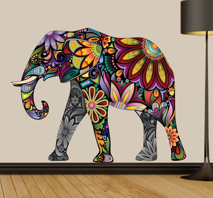 decals design 'abstract elephant' wall stickers