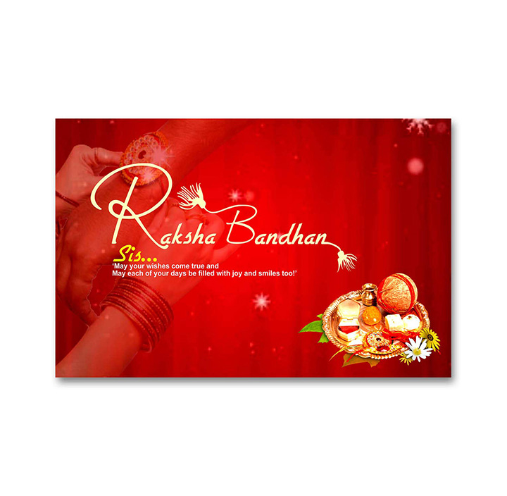 A Radiant Red Poster of Raksha Bandhan along with a Pooja Plate