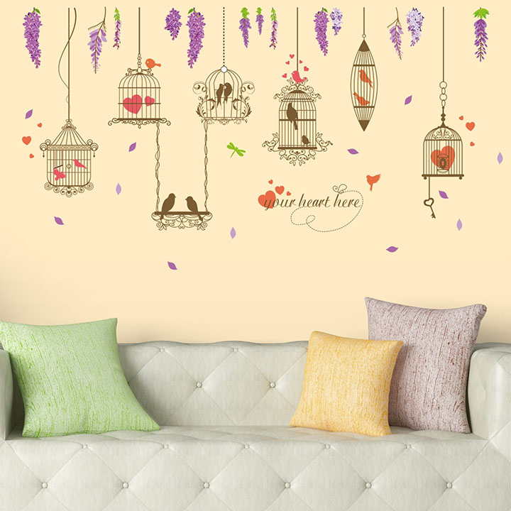 Amazon Brand - Solimo Wall Sticker for Living Room (Lovebirds)