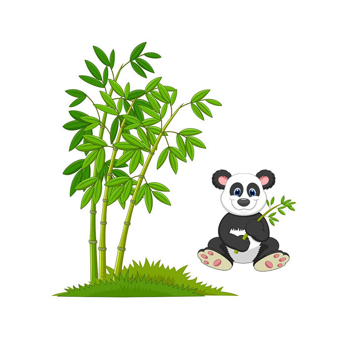 Asmi Collections Wall Stickers Cute Panda Near a Bamboo Tree and Grass