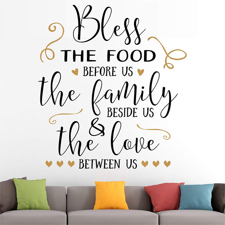 blessing family food love home wall sticker