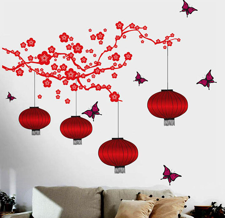 Decals Design 6980 StickersKart Wall Stickers Chinese Lamps in RED Double Sheet