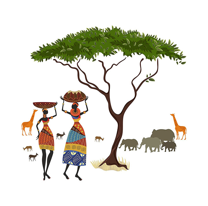 Decals Design 'Artistic Tribal Ladies with Animals Nature' Wall Sticker