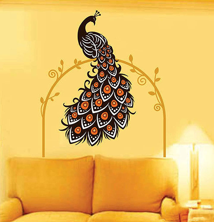 decals design 'beautiful peacock on vine' wall sticker