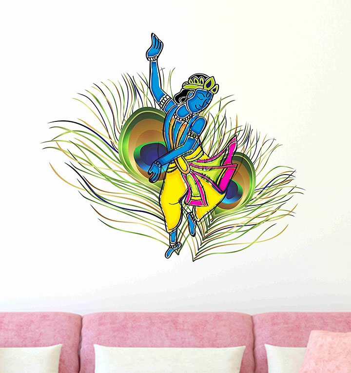 Decals Design 'Dancing Krishna God With Peacock Feather Background Wall Sticker
