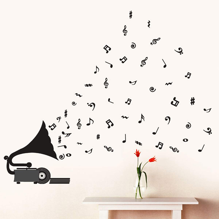 decals design 'gramophone with musical notes' wall sticker