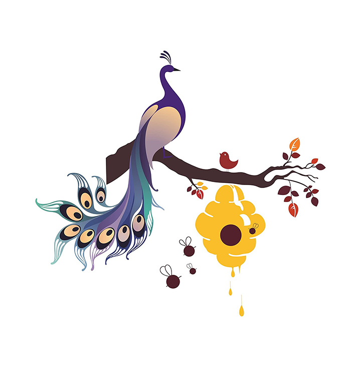 Decals Design 'King of Birds Peacock on Branch with Honey Bees Hive' Wall Sticker