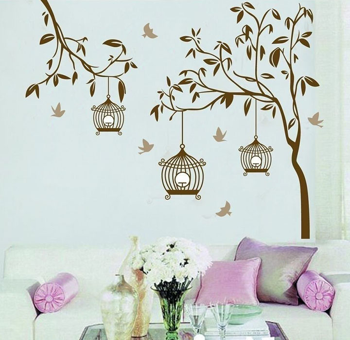 Decals Design StickersKart Wall Stickers Tree with Birds and Cages