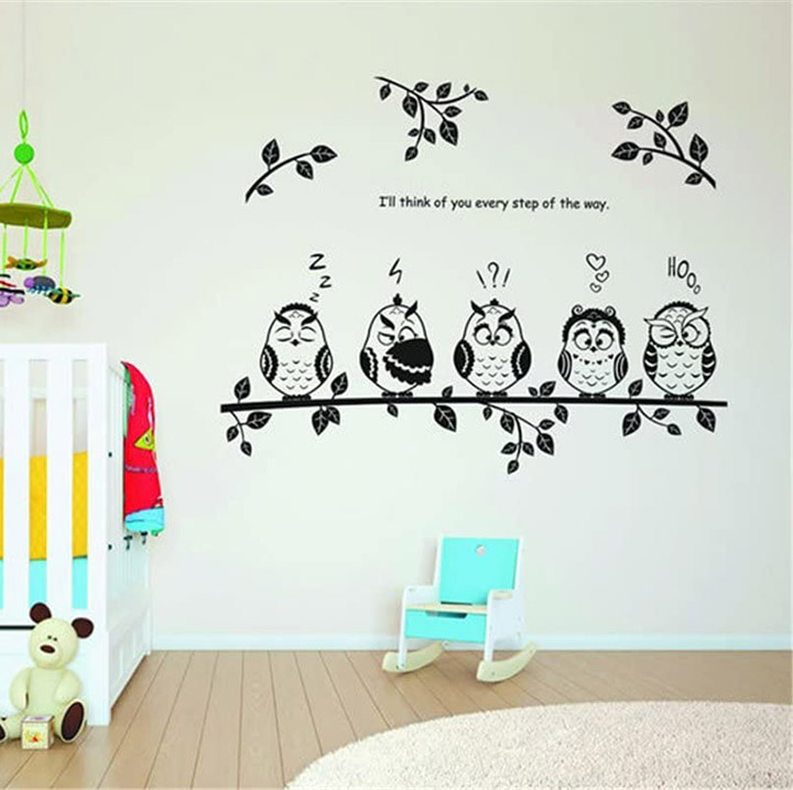 Five Funny owl Wall Stickers Kids Room Decor