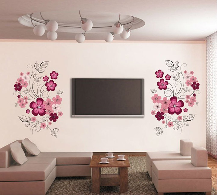Flowers with Vine' Wall Sticker