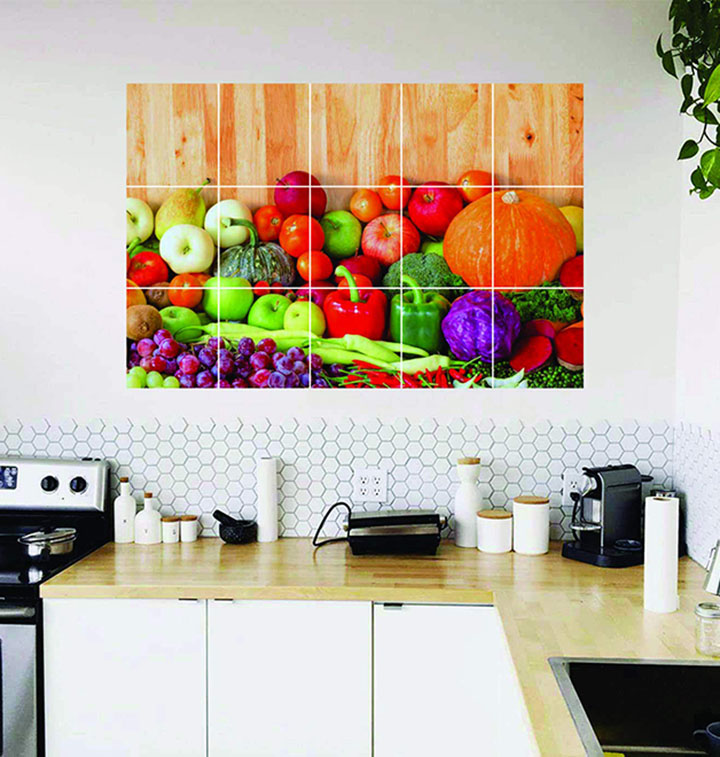 Fresh Fruits and Vegetables Wallpaper/Wall Stickers for Kitchen