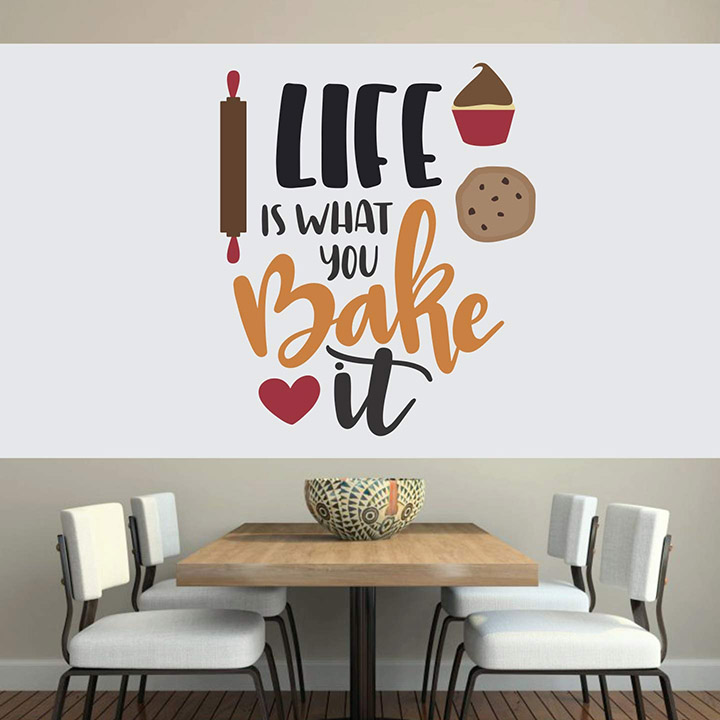 Life Baking Family Love Quote Kitchen Wall Sticker