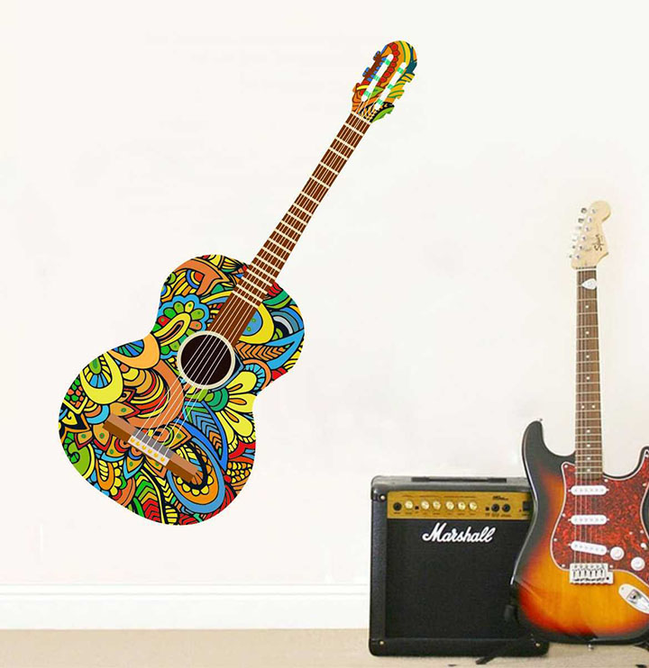 rawpockets 'colorful guitar' wall sticker