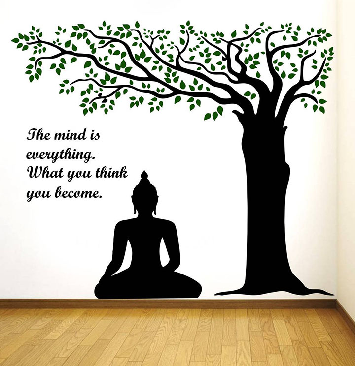 Rawpockets Decals 'Lord Buddha Under Tree and Quote on Mind' Wall Sticker