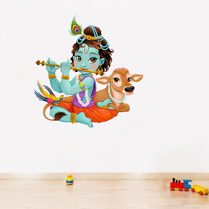 Rawpockets 'Lord Krishna Flute Playing with Cow' Wall Sticker