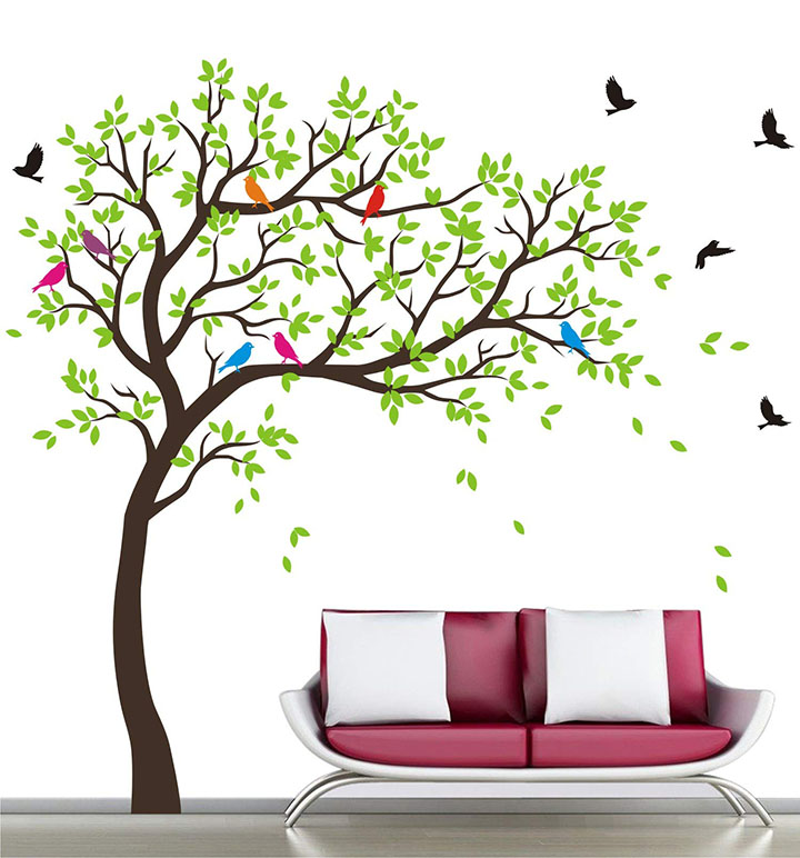 WALLSTICKS Extra Large - Full Wall - Tree - Colourful - Birds - Nature - Wall Sticker