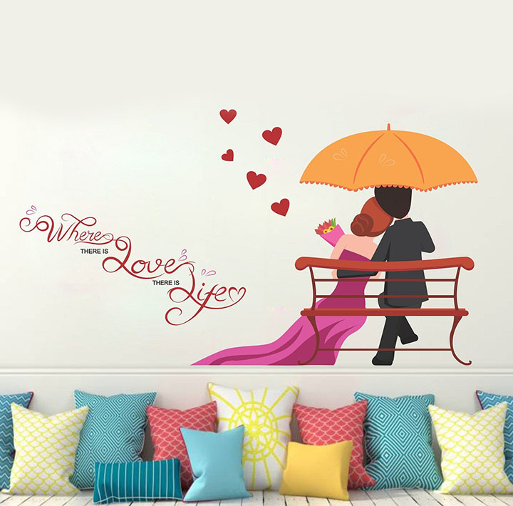 Wallstick 'Love Couples with Quotes' Wall Sticker